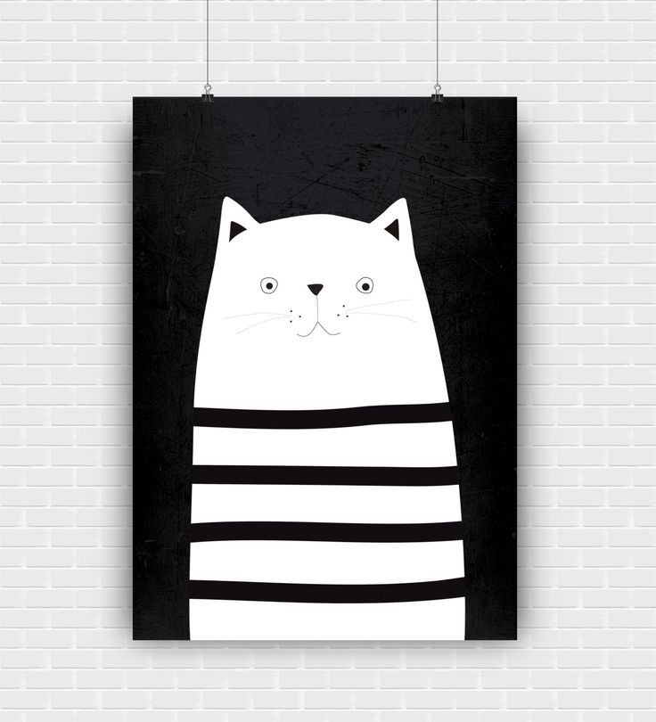 Stylish and modern cat illustration. Black and white printable art design. Decorative high quality poster for instant download. by GraphicCorner on Etsy