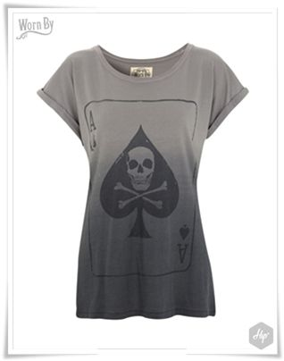 """Ace of Spades"" Women's Boyfriend Tee - Charcoal Dip Dye  #Hip #HipYourTeez #Tshirts #Look_book #Spring #Summer #Collection #S_S14 #New_In #New_Arrivals #NewCollection #WornBY #RocknRoll — στην τοποθεσία Hip."