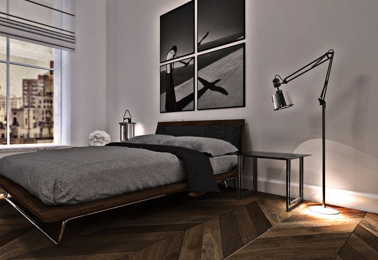 This is the man's world //grey&wood//modern//bedroom by naantresoli.pl