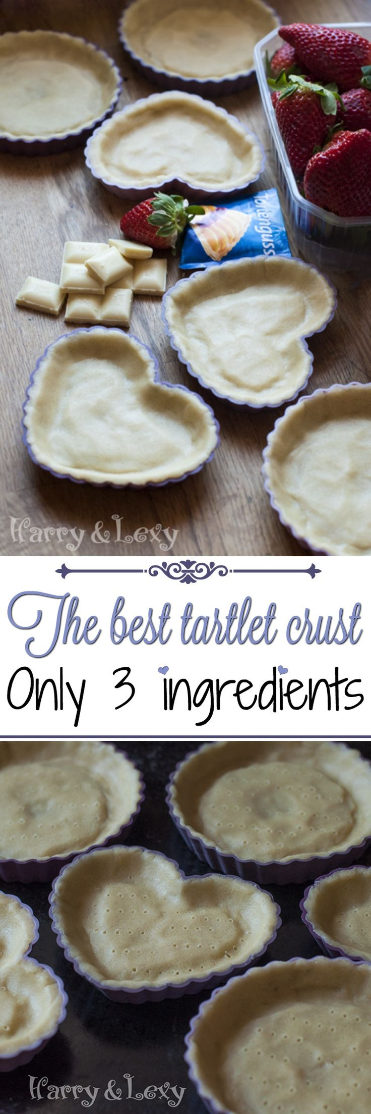 This is the best tartlet crust recipe I have tried. It contains only 3 ingredients, the baking time is 15 minutes and you can use your favourite filling.