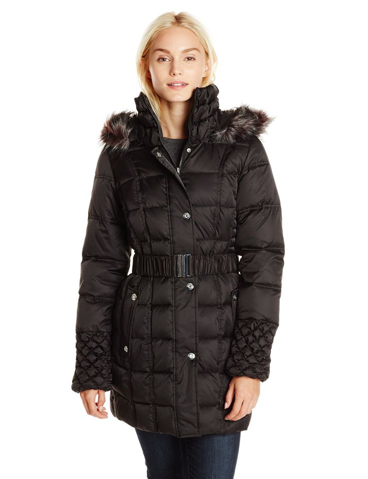 Betsey Johnson Women's Puffer Coat with Faux Fur Hood and Quilted Sleeve, Black, X-Small