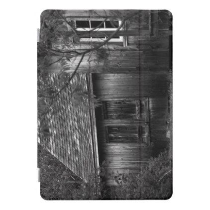 Old wooden shack in the woods iPad pro cover - black and white gifts unique special b&w style