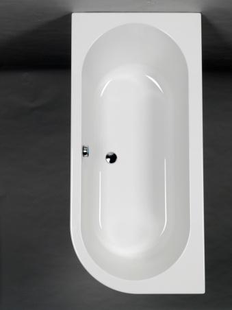 Strømberg Status rektangulært badekar med afrundet ende ryglæn i venstre side - 170x80 cm.