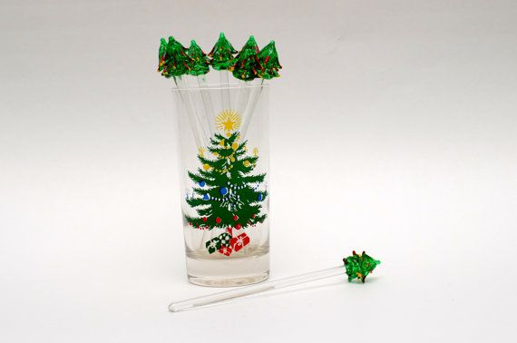 Set of 8 vintage glass christmas tree cocktail stirrers in for Christmas in a glass cocktail
