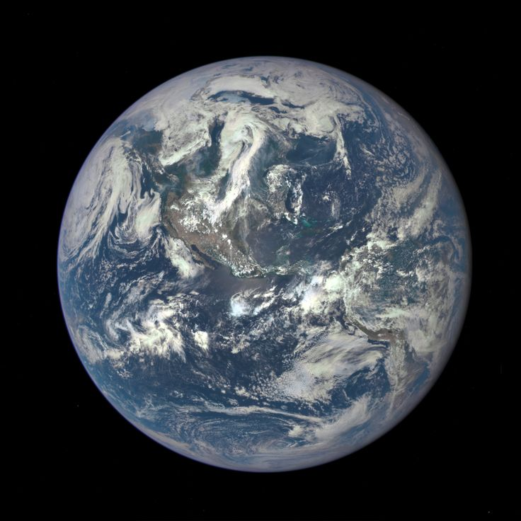 A NASA camera on the Deep Space Climate Observatory satellite has returned its first view of the entire sunlit side of Earth from one million miles away.  This color image of Earth was taken by NASA's Earth Polychromatic Imaging Camera (EPIC), a four megapixel CCD camera and telescope. The image was generated by combining three separate images to create a photographic-quality image.