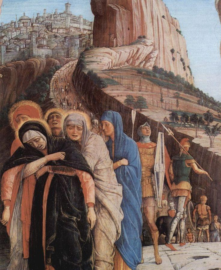 Андреа Мантенья. Алтарь Сан Зено в Вероне, триптих, средняя пределла, сцена: Распятие, деталь: Скорбящая Мария. 1459 г.