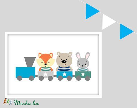 Erdei állatok vonatos keretezett falikép / babaszoba dekoráció 20x30 cm-es méretben (MesesGyerekszoba) - Meska.hu