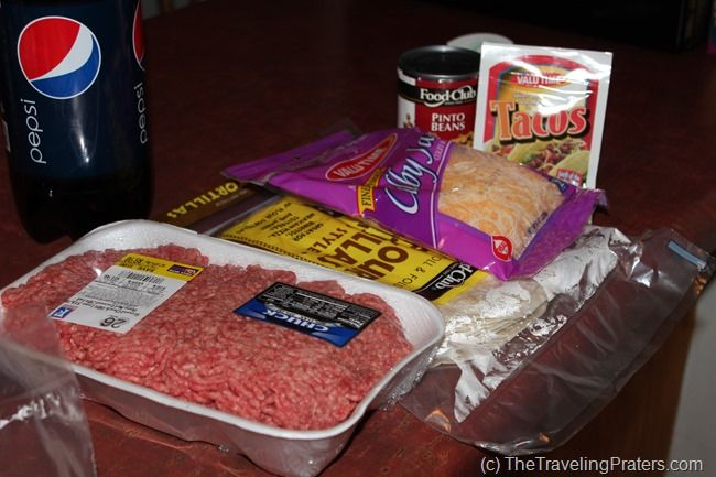 Cooking in a Hotel Room: Ingredients for Beef and Bean Burritoes