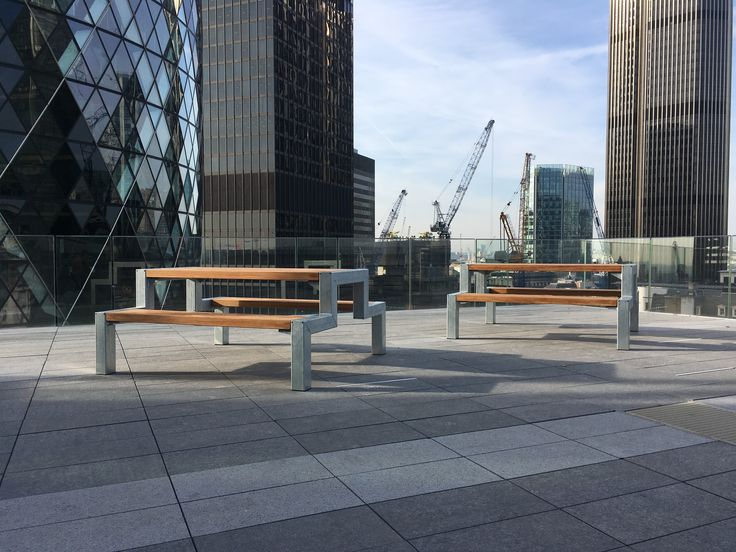 Falco manufactured and installed two FalcoBloc picnic tables (open design) freestanding at Assured Guaranty London.