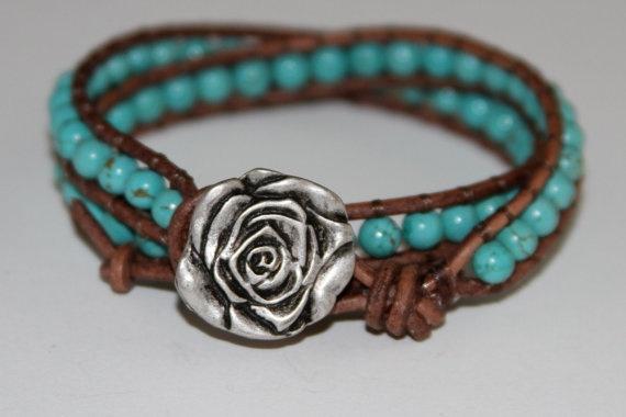 turquoise bracelet w/ vintage silver rose. etsy.: Jewelitcoutur Etsy, Double Wraps, Double Leather, Leather Wraps, Wraps Genuine, Turquoise Bracelets, Turquoi Bracelets, Silver Rose, Genuine Turquoise