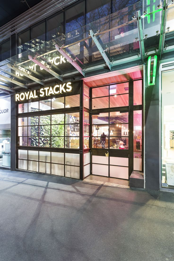 Facade for new Royal Stacks burger restaurant in Collins St, Melbourne CBD.  Photography by Ari Hatzis.