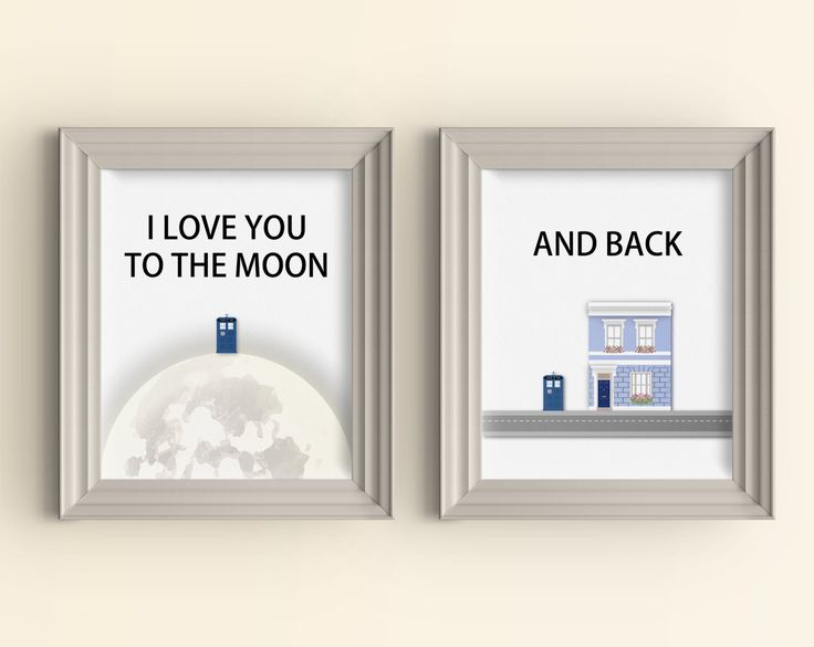 I love you to the moon and back Art Print set Doctor Who Art Print Whovian Gift Tardis Dr Who Love Quote Geek Art Print Typography Wall Art (34.00 USD) by CarnivalePress