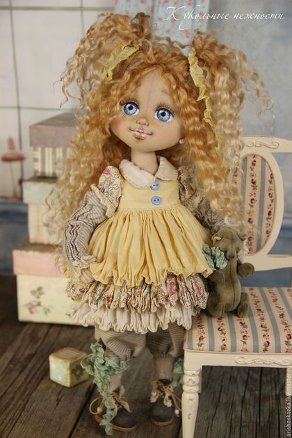 Коллекционные куклы ручной работы. Злата. Кукла авторская текстильная artdoll. Кукольные нежности от Ариши. Ярмарка Мастеров. Кукла, желтый
