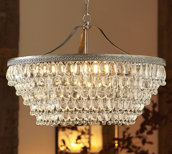 Clarissa Glass Drop Large Round Chandelier   Pottery Barn - 7 Best Rectangle Chandelier Images On Pinterest Dining Room