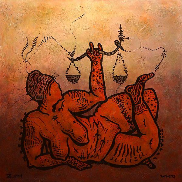 Goddess - Acacia Art - Yuriy Zakordonets  contemporary, art, painting, horizontal, goddess, scale, figurative, modern, pose, acrylic, yellow, red, brown, black, interior, design, decor, wall, tribal, ethno, aboriginal, tattoo, pattern, balanced