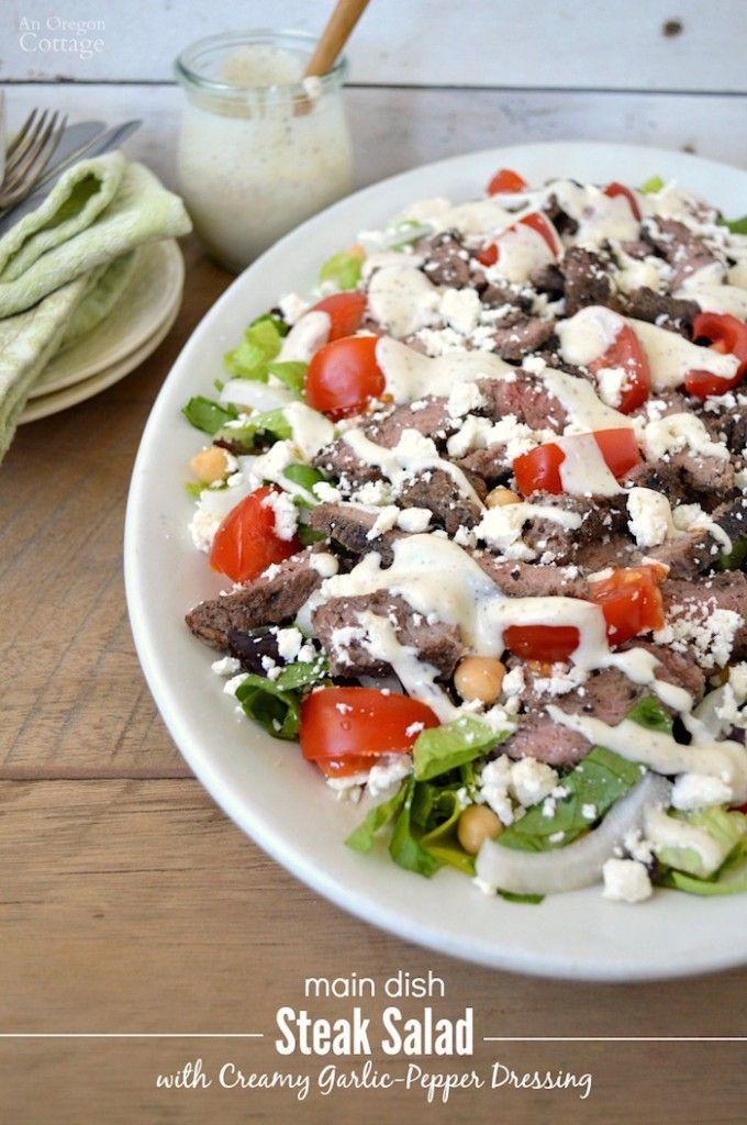 Easy Main Dish Steak Salad with Creamy Garlic-Pepper Dressing recipe makes a fantastic, healthy, warm weather dinner!