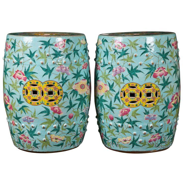 Pair Of Century Chinese Ceramic Garden Stools