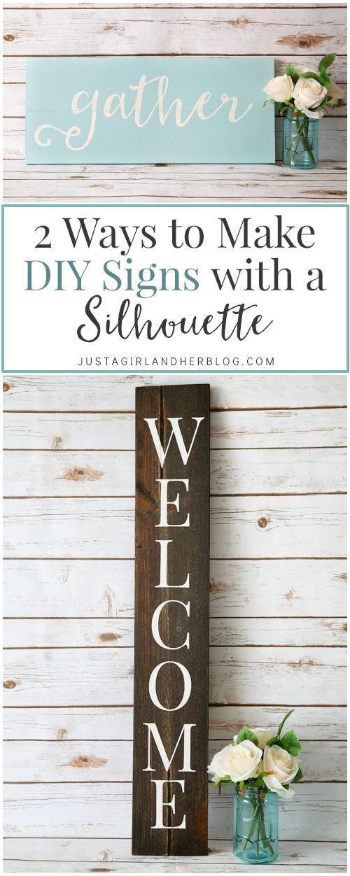 Love this easy step by step tutorial for making cute signs with a Silhouette machine! | JustAGirlAndHerBlog.com