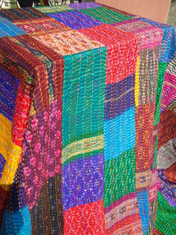 patchwork sari indian kantha quilt
