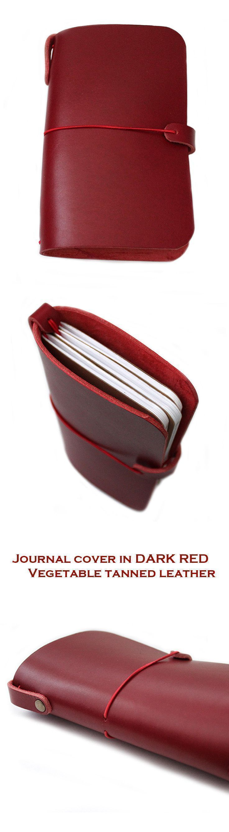 LEATHER JOURNAL COVER in Dark Red vegetable tanned genuine Italian leather for Midori travelers, Midori passport, Field notes, Moleskine Cahiers A5 journal, A6 size notebooks and/or Leuchtrum 1917 or a passport. (scheduled via http://www.tailwindapp.com?u