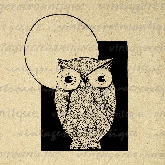 Vintage Owl Graphic Printable Image Owl Artwork Digital Bird Download Antique Clip Art Jpg Png Eps 18x18 HQ 300dpi No.4169 @ vintageretroantique.etsy.com