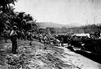 Near the close of WWII, allied attacks drove the enemy to Hollandia and Tanahmerah.  Known as the Hollandia Mission, MacArthur attacked to keep enemy forces from joining up with the Japanese at New Guinea.  This photo shows Tanahmerah Bay, Dutch New Guinea. 22 April 1944. #tanahmerah #hollandia #wwii #guinea