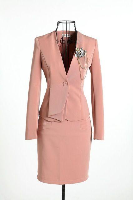 2016 Novas Mulheres Terno Formal Blazer com Saia para o Office Ladies OL Carreira Terno Da Moda Plus Size Frete grátis