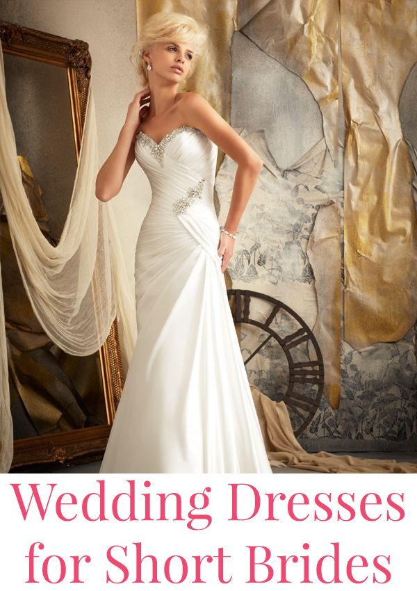 Flattering wedding dresses for short brides.