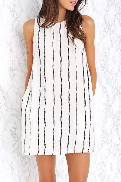 Brief Round Collar Vertical Stripe Summer Dress For Women Summer Dresses | RoseGal.com