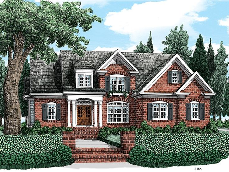 Colonial home plan with 2398 square feet and 4 bedrooms for Brick colonial house plans