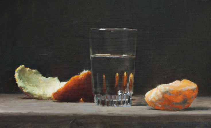 Jacob Collins, Orange And Glass, Oil on Panel, 9.5 x 14 inches, 2013