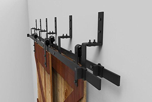 12ft Bypass Sliding Barn Double Door Hardware Track Set Modern Interior Barn Door Hardware Double T Interior Barn Door Hardware Barn Door Hardware Double Doors