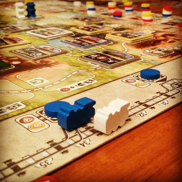 #greatwesterntrail is taking the lead for the longest 4 player game played today. Imho 3 would be a sweet spot for this one. Maybe I would even suggest teaching this game with lower player counts because the downtime discourages even the biggest #alexanderpfister fan. Would you agree? What is your experience so far?  #engine #pegasusspiele #strongholdgames #boardgames #boardgamegeek #bgg #herd #cattle #cowboy #boardgameaday