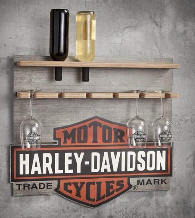 Harely Davidson Wood Wine Rack Display Bar Collectible Barware