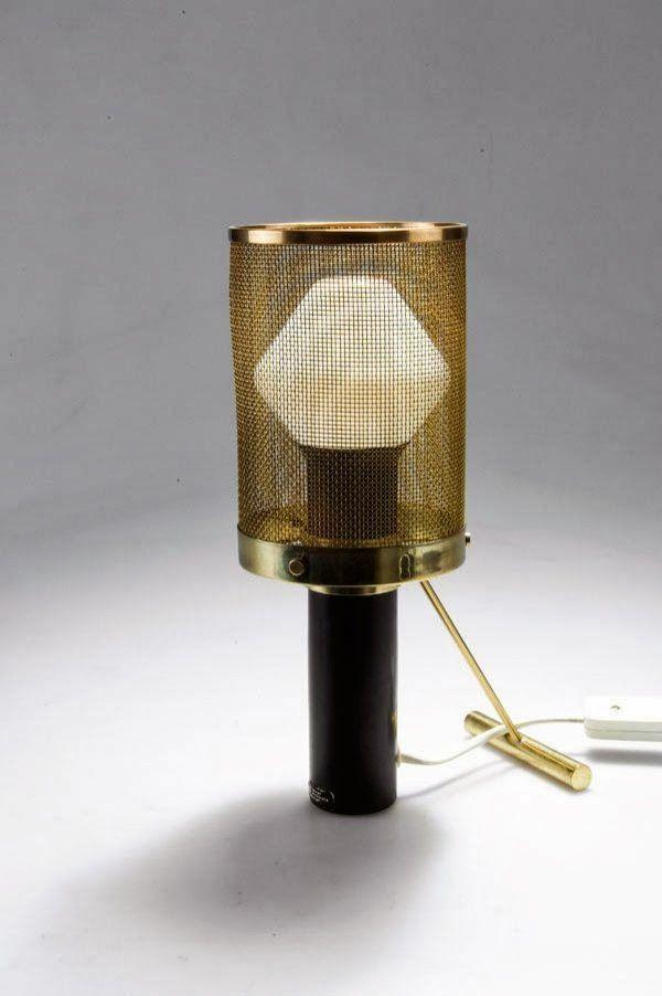Tapio Wirkkala, Brass and Enameled Metal Table Lamp for Idman Oy, c 1950.