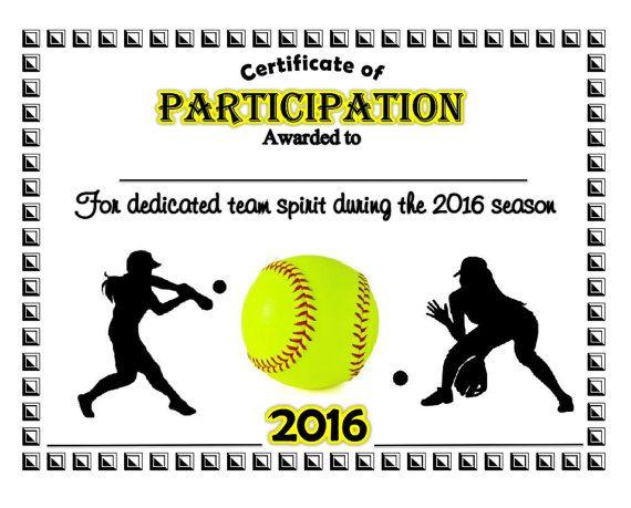 2016 Softball Sports Certificate  Digital by SimGirlsCrafts