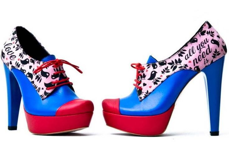 birds blue cool high heels pink - Shoes Picture