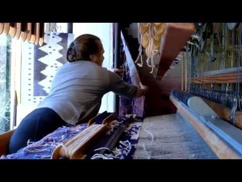 Carolyn Carleton Browe weaving on hand Jacquard loom with galleries info - YouTube