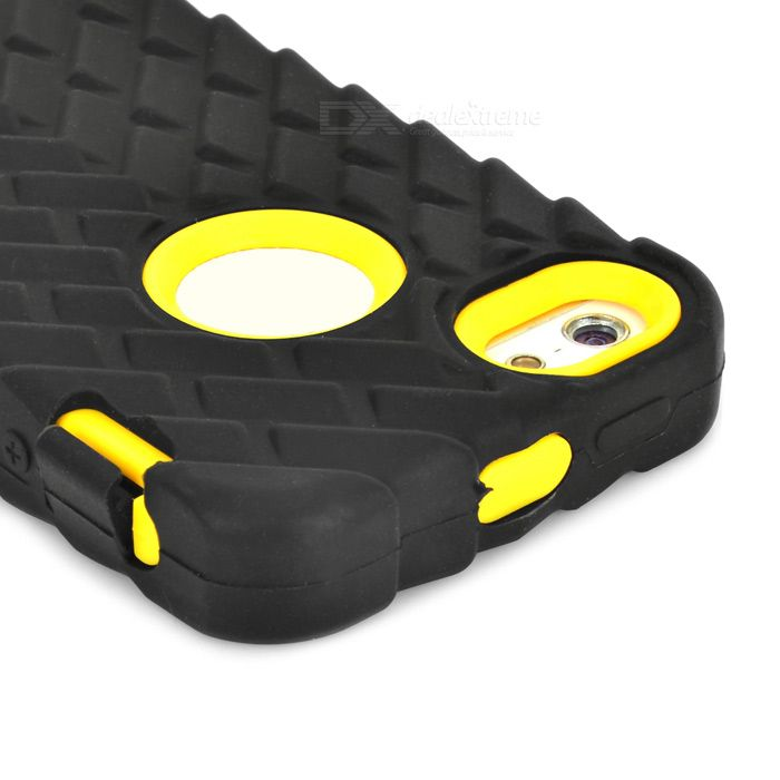 Tyre Pattern Protective Back Case for IPHONE 5 / 5S - Black + Yellow