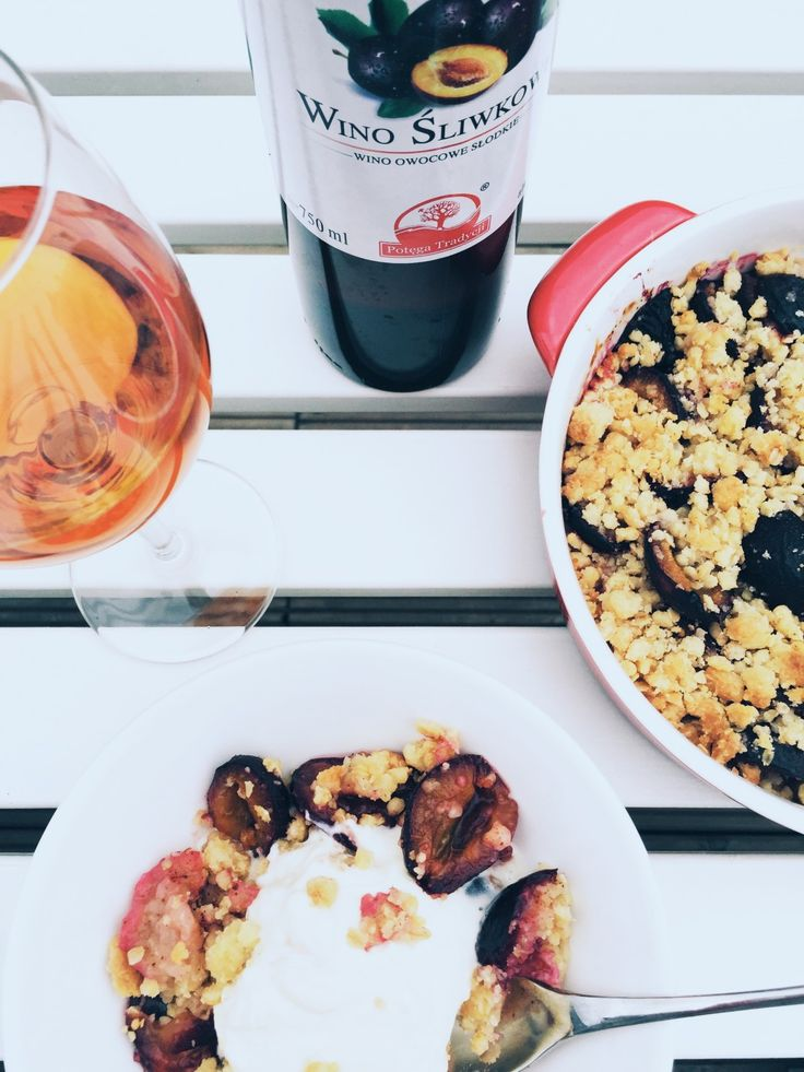 Plum with crumble and mascarpone, recipe, sweets, delicious plum, autumn fruit