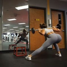 Try these 5 exercises for a badass thigh burn!! ⠀ ⠀ 1. Start with the 1st exercise as you'll need the most balance and coordination. You can ALWAYS touch the wall to help with your balance. 4 sets for 10 reps each leg. ⠀ ⠀ 2. Grab any kind of weight - Barbell is ideal to position under your elevated leg. Push up and down with your front heel. 4 sets for 10 reps each leg. ⠀ ⠀ 3. Same Barbell - now go side to side. Make sure your knee doesn't go pass your toes. 4 sets for 10 reps each side....