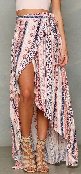 #summer #fashion / slit tribal print wrap skirt