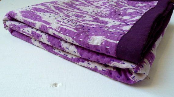 Twin Purple Bedspread // Single Bedcover // Purple Ikat Quilt // Kantha Throw Blanket