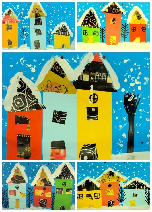 paper and white paint to create winter houses