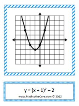 Quadratic/Parabola Function Graph Trasformation - Card Matching Game - Activity.  18 Cards help students learn all of the transformations of the quadratic function.