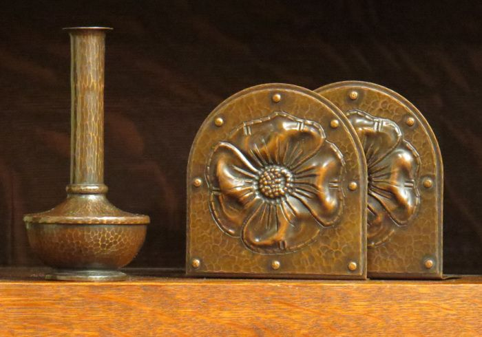 Roycroft American Beauty Vase | Poppy bookends | Hammered Copper | East Aurora | Arts and Crafts Style | Craftsman | Bungalow | House