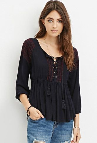 Lace Up Embroidered Peasant Top Forever 21 2000161628 Tops In