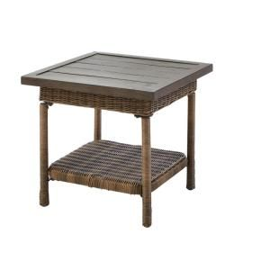 Hampton Bay Beacon Park Steel Wicker Outdoor Accent Table-FWS80486E - The Home Depot