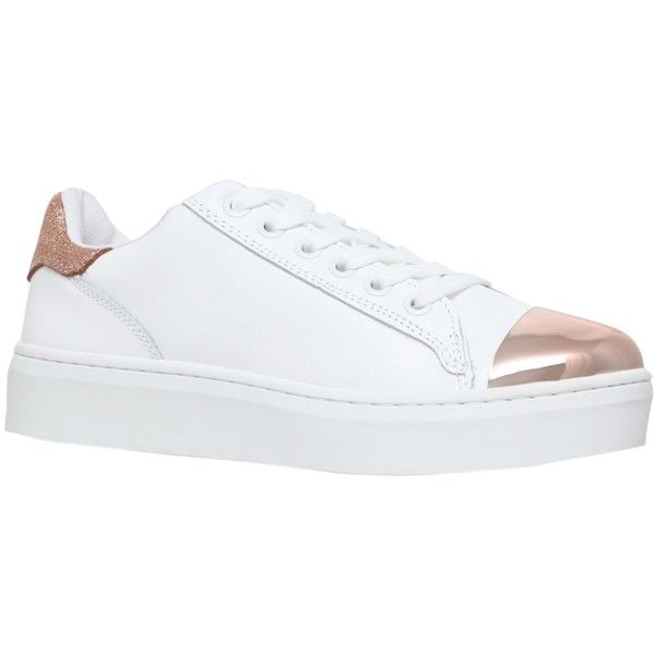 KG by Kurt Geiger Loopy Lace Up Trainers, White (£110) ❤ liked on Polyvore featuring shoes, sneakers, flat shoes, sports trainer, white leather shoes, canvas sneakers and white lace up sneakers