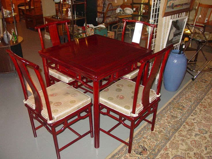 Vintage Hardwood Asian Mahjong Game Table w/ Reversible Top & 4 Chairs #Asian #Unknown